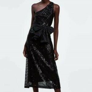 Zara Asymmetric Sequin Dress S Black Midi Bow
